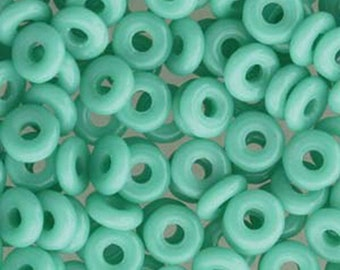 O Beads Turquoise Jade Green Czech Glass Donut Ring Beads 3.8 x 1mm 6 grams