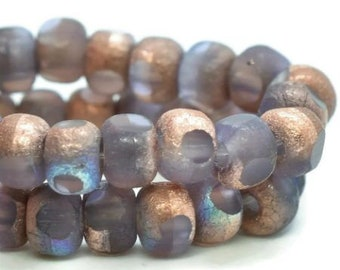 Trica Beads Thistle with Matte Etched Copper Finish Czech Pressed Glass Rondelles Beads 4x3mm 50 beads