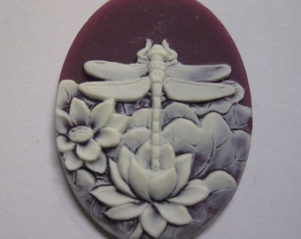 Dragonfly and Water Lily Vintage Look Purple Cameo Jewelry Cabochon Pendant 40mm x 30mm