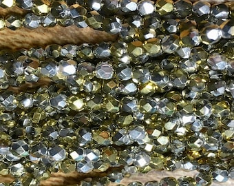 4mm Metallic Gold California Silver Czech Glass Firepolished Crystal Beads 50 Beads