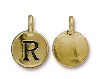 "Letter ""R"" Initial Pendant Tiny Gold Charm TierraCast Antique Gold Alphabet Charms TierraCast Lead Free Pewter 16.5x11.5mm One Charm"