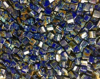 Picasso Opaque Cobalt Blue Miyuki 5mm Square Two Hole Tila Beads 7.2 grams TL4518