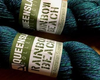 Bluebirds Rainbow Beach by Queensland Collection Sport Weight 100% Australian Superwash Wool Blue Purple Green 328 yards
