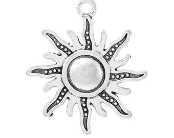Clearance 10 Radiant Sun Charms Single Sided Antique Silver 28mm x 25mm C189