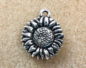 2 Sunflower Charm Antiqued Silver Plate Pendant Charm TierraCast Lead Free Pewter 15mm x 18mm 2 pc F397FC