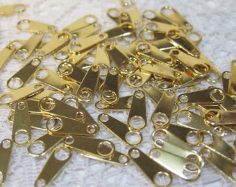 20 Chain Tab Gold Plated Brass Clasp End 10mm x 4mm F304A