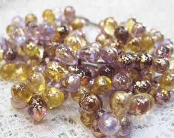 25 Venetian Mix Amethyst with Gold Czech Pressed Glass Teardrop Beads 6mm x 9mm
