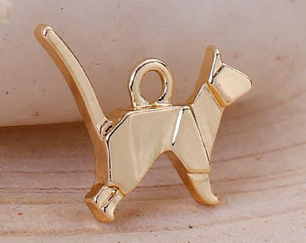 5 Gold Plated Origami Cat Charms Single Sided Animal Charms 15x13mm 5 pcs C197B