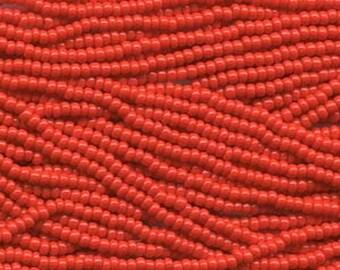 11/0 Light Red Opaque Czech Glass Seed Beads 18 grams