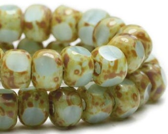 Trica Beads Tea Green with Picasso Finish Czech Pressed Glass Rondelles Beads 4x3mm 50 beads
