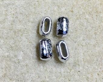 Distressed 6x2mm Hammertone Barrel Bead Antiqued Pewter TierraCast Leather Crimp Beads 4 pcs