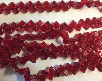 Ruby Red Transparent Two Hole Silky Czech Pressed Glass 6mm Two Hole Angled Square Beads 40 pcs