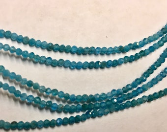 Blue Apatite 2mm Faceted Gemstone Round Beads Approx 100 Beads