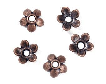 Flower Bead Caps Antique Copper Tone 5 Petal Daisy Flower Floral Bead Caps 6mm x 6mm 50 pcs F354C