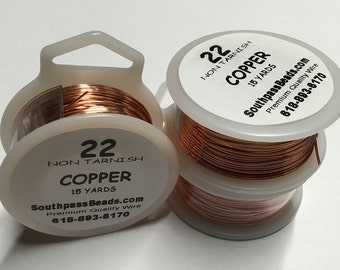 22 gauge Copper Non Tarnish Craft Wire 15 yards Made in USA