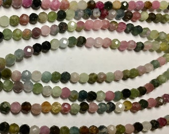 Tourmaline 3mm Faceted Gemstone Rounds Approx 60 beads 8 inch strand