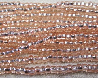 6/0 Champagne Silver Lined Genuine Czech Glass Preciosa Rocaille Seed Beads One Strand 12 grams