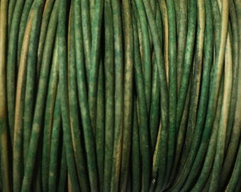 1mm Natural Dye Dark Green Round Leather Cord 2 yards for Wrap Bracelets Macrame Knotting Jewelry