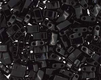 Black Opaque Miyuki Half Tila 5mm x 2.3mm x 1.9mm Glass Beads 7.2 grams