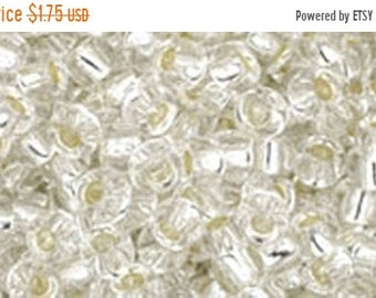 ON SALE 8/0 Crystal Silver Lined Toho Glass Seed Beads 2.5 inch tube 8 grams TR-08-21