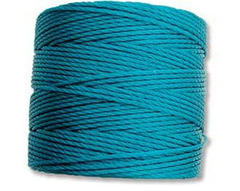 Teal S-Lon #18 Bead Cord Tex 210 Multi Filament Twisted Nylon Cord One Spool 77 yards