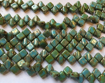 Turquoise Blue Picasso Two Hole Silky Czech Pressed Glass 6mm Two Hole Angled Square Beads 40 pcs