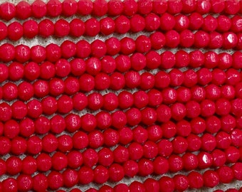 Red Opaque 3mm English Cut Czech Pressed Glass 50 beads