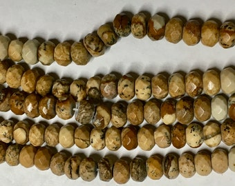 Picture Jasper Faceted Gemstone Rondelle Beads 4x6mm Approx 46 beads 8 Inch strand
