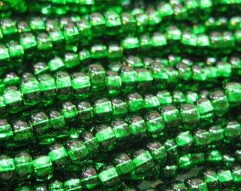 6/0 Brilliant Green Silver Lined Preciosa Czech Glass Seed Beads 11 grams