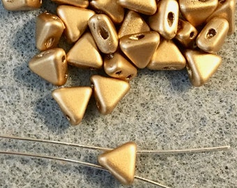 Kheops Par Puca Light Gold Matte Two Hole Triangle Czech Pressed Glass 6mm x 6mm 9 grams