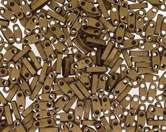 Metallic Dark Bronze Miyuki Quarter Tila 1.2mm x 5mm x 1.9mm Glass Beads 1/4 Cut 6 grams