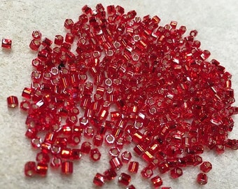 ON SALE 8/0 Red Silver Lined Hex Cut Miyuki Seed Beads 911