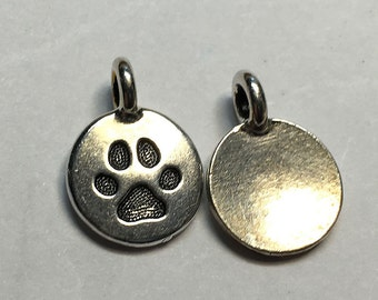 Antique Silver Paw Print Charm TierraCast Lead Free Pewter 16.5x11.5mm One charm F452B