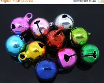 ON SALE Multi Color Jingle Bell Beads Bright Colors 14mm x 10mm 25 pcs F510