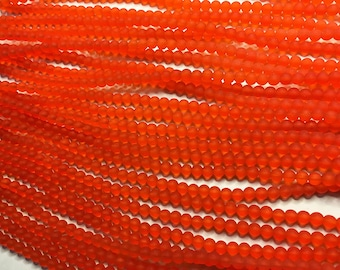 Cultured Sea Glass Beads 48 Tangerine Orange 4mm Round Beads