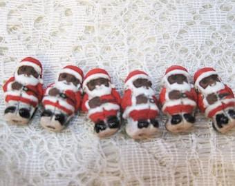 Clearance Santa Claus Peruvian Ceramic Dark Skin Santa Beads 15x8mm 12 pcs