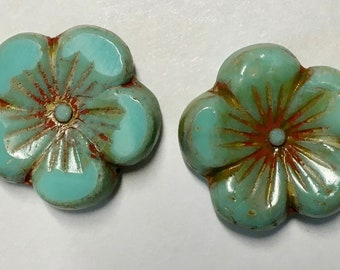 2 Sea Green Hibiscus Flower Beads Czech Pressed Glass Carved Beads 22mm with Picasso Finish