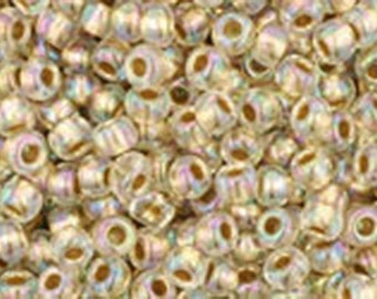 11/0 Gold Lined Rainbow Crystal Toho Glass Seed Beads 2.5 inch tube 8 grams TR-11-994