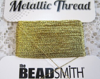Gold Metallic Polyester Thread 2 ply .30mm 25 yards 790524188949