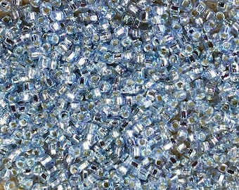 11/0 Silver Lined Light Sapphire Rainbow Japanese Seed Beads 6 Inch Tube 28 grams #642A