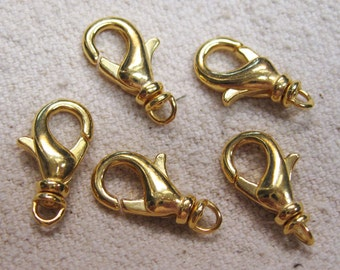 Swivel Lobster Clasp Gold Plated Brass Lobster Claw Clasps 15mm with Swivel 6 pcs F265