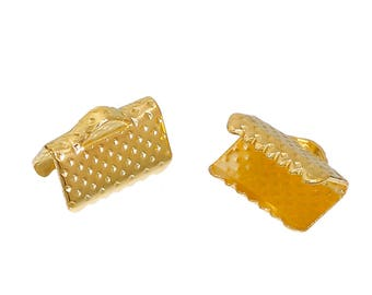 20 or 40 Textured Finish Gold Plated Ribbon Clamp Clasps Crimp End Clasps with Loop 8mm width x 10mm length F147