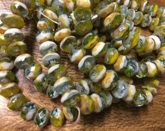 Green Look Aqua Yellow White Mix with Picasso Czech Pressed Glass Large Faceted Rondelles 6mm x 8mm 25 beads 0285