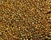 8 0 Galvanized Gold Japanese Glass Rocaille Seed Beads 6 Inch tube 28 grams 471
