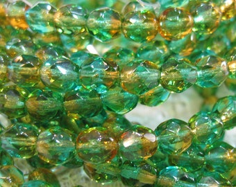 Crystals 6mm Grass Green and Topaz Bi Color Glass Fire polished Crystal Beads