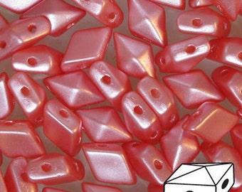 Pastel Light Coral Diamonduo Pressed Glass Two Hole Seed Beads 5x8mm 50 beads
