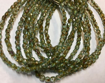 50 Sea Green Picasso Czech Glass Firepolished Crystal Beads 3mm Approx 50 beads