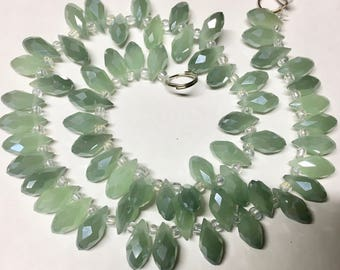 10 Milky Pistachio Green Faceted Transparent Crystal Briolette Drop Teardrop Beads 6x12mm 10 beads