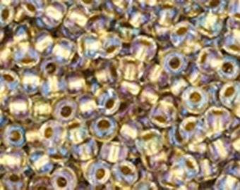 11/0 Crystal Gold Lined Toho Glass Seed Beads 2.5 inch tube 8 grams TR-11-262