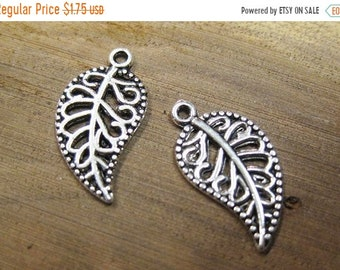 ON SALE 10 Curved Filigree Leaves Antique Silver Leaf Charms 18mm x 10mm C470